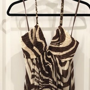 Cream & brown zebra print maxi